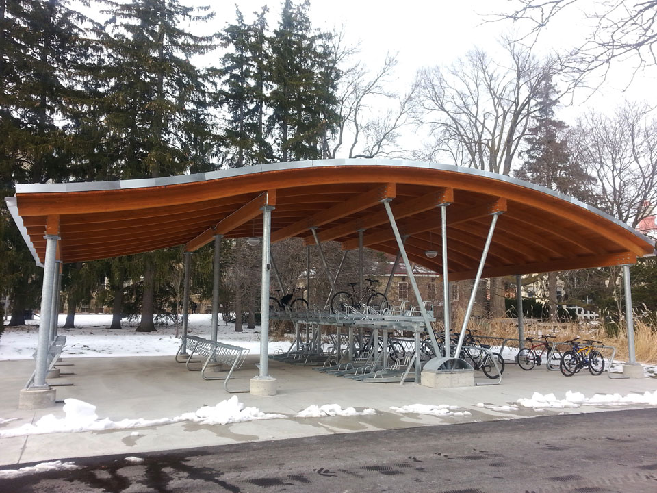 Sustainable bike shelter at the University of Guelph.