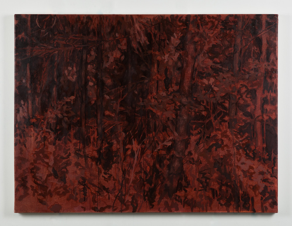 Painting of a mysterious forest interior in black and earthen tones.