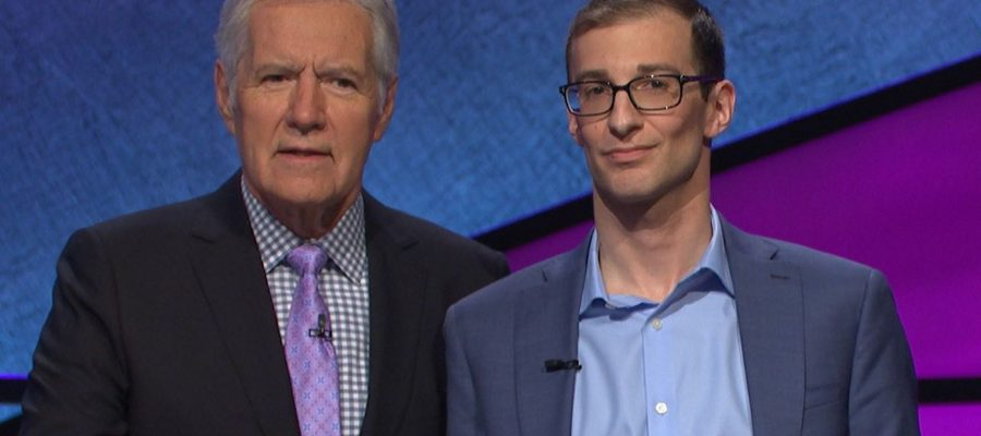 Jeopardy! gameshow host Alex Trebek with University of Guelph grad Jordan Nussbaum