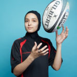 Young female athlete wearing hijab