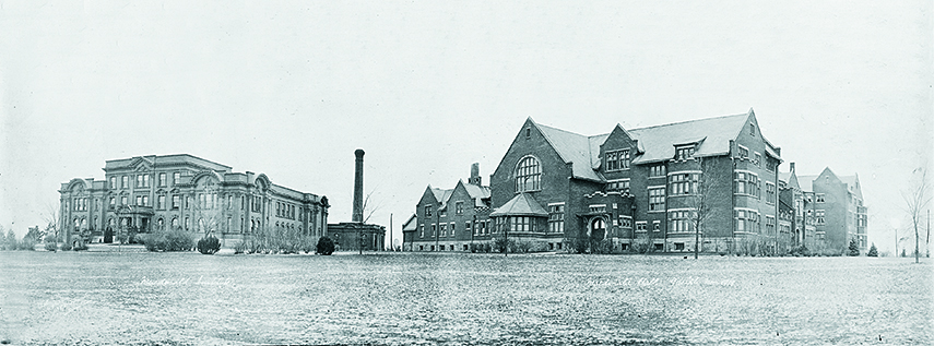 Macdonald Institute (left) and Macdonald Hall (right), November 1919.