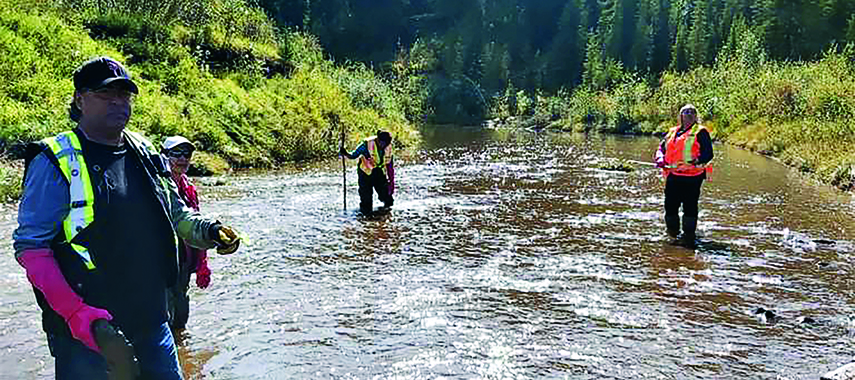 Members of Blueberry River First Nations doing field training for ecosystem health assessment, standing in the river