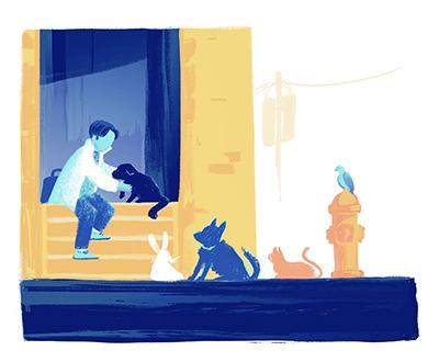 illustration of man with animals