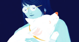 illustration of veterinarian hugging a dog