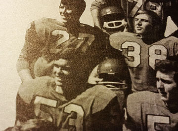 Bill Laidlaw, No. 53 on lower left, joined the Guelph Gryphons football team in 1970