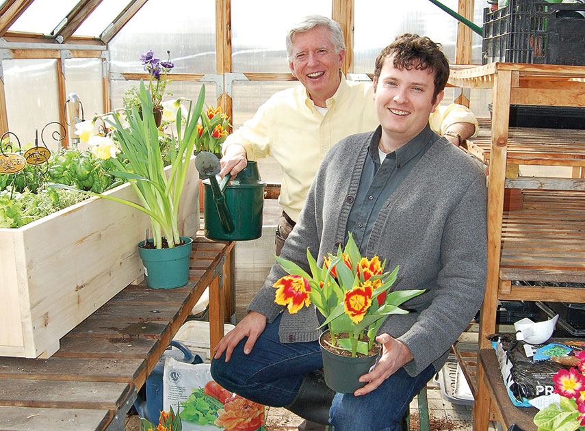 Ben and Mark in greenhouse