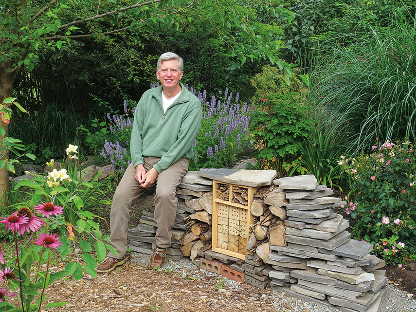 """Mark with an """"insect hotel"""" for attracting native insects."""