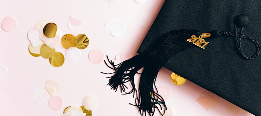 graduation cap with 2021 pin