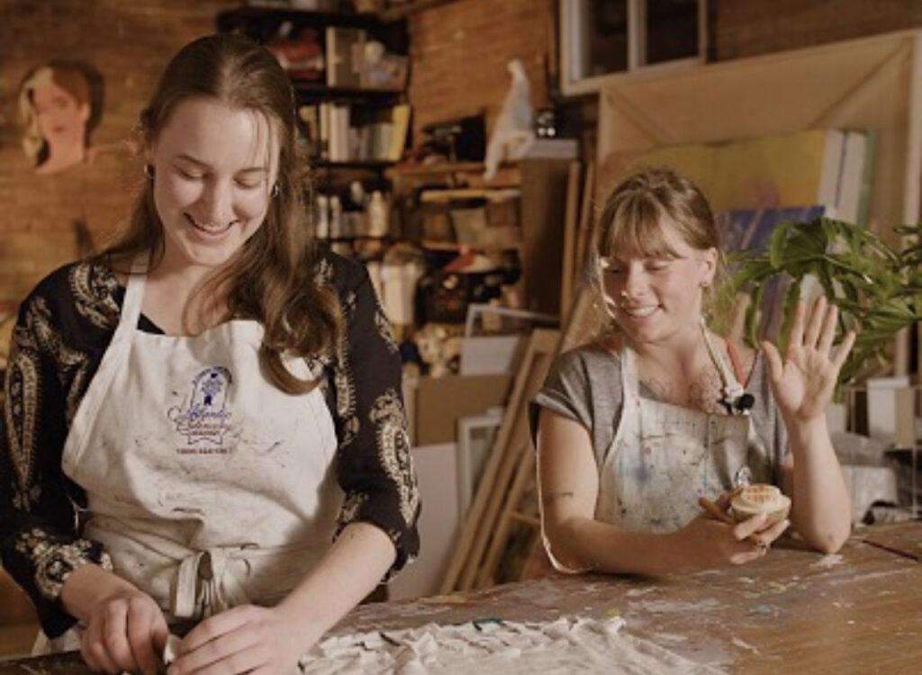Two women in art studio